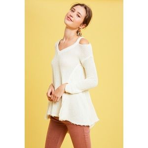 NWT Flared High Low Cold Shoulder Sweater